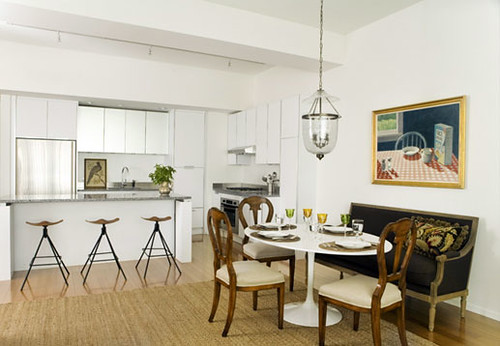 White Kitchen Dining Area Modern Traditional Mix In Bos