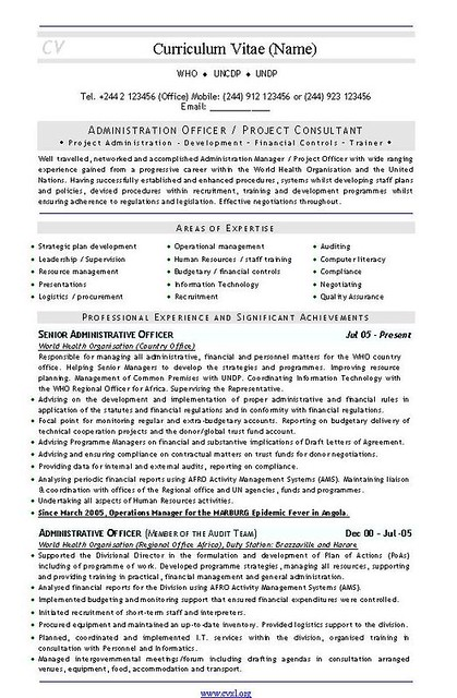 admin project consultant cv and resume template