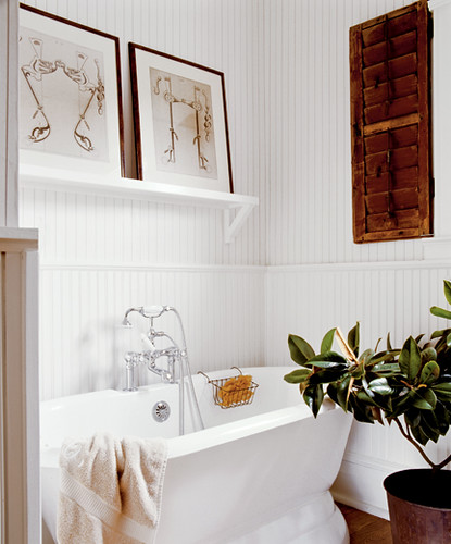 Classic white bathroom + striped wallpaper + wood accents | by SarahKaron