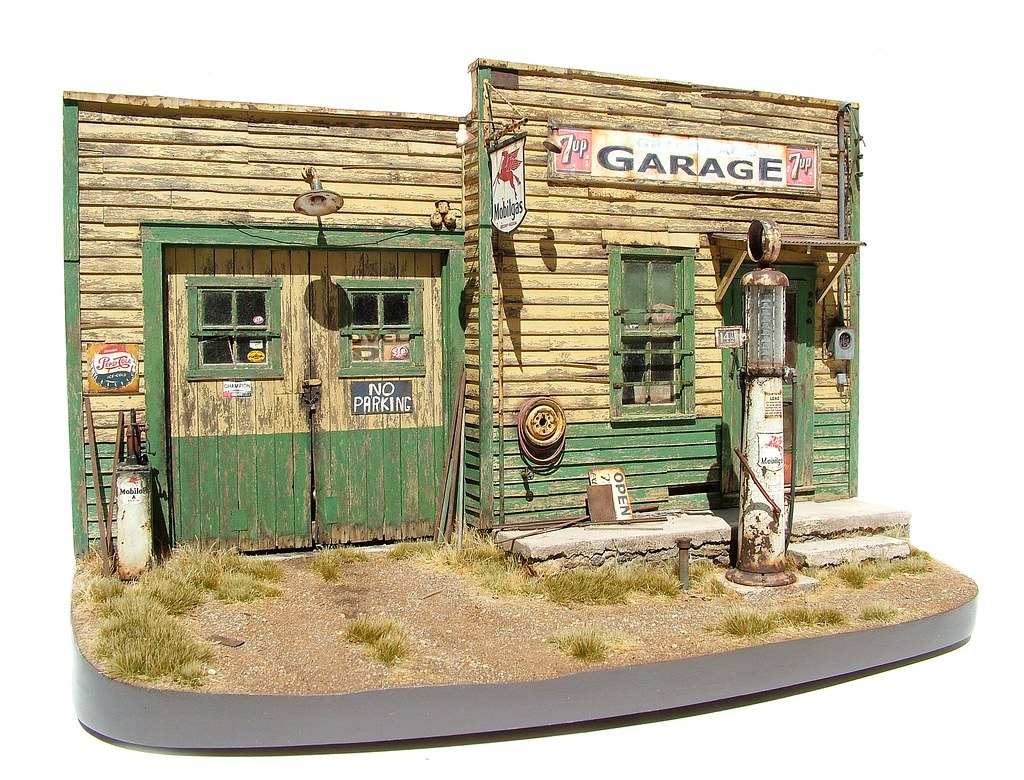 abandoned roadside garage 1 2 scale 1 24 weathering stu flickr. Black Bedroom Furniture Sets. Home Design Ideas