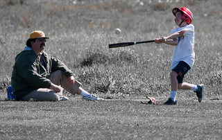 Father and son baseball batting lesson in the Cloisters Park, Morro Bay, CA | by mikebaird