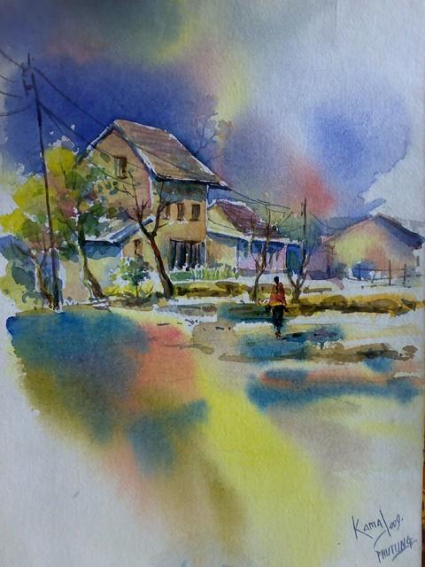 nepal watercolor landscape painting by kamal gurung flickr