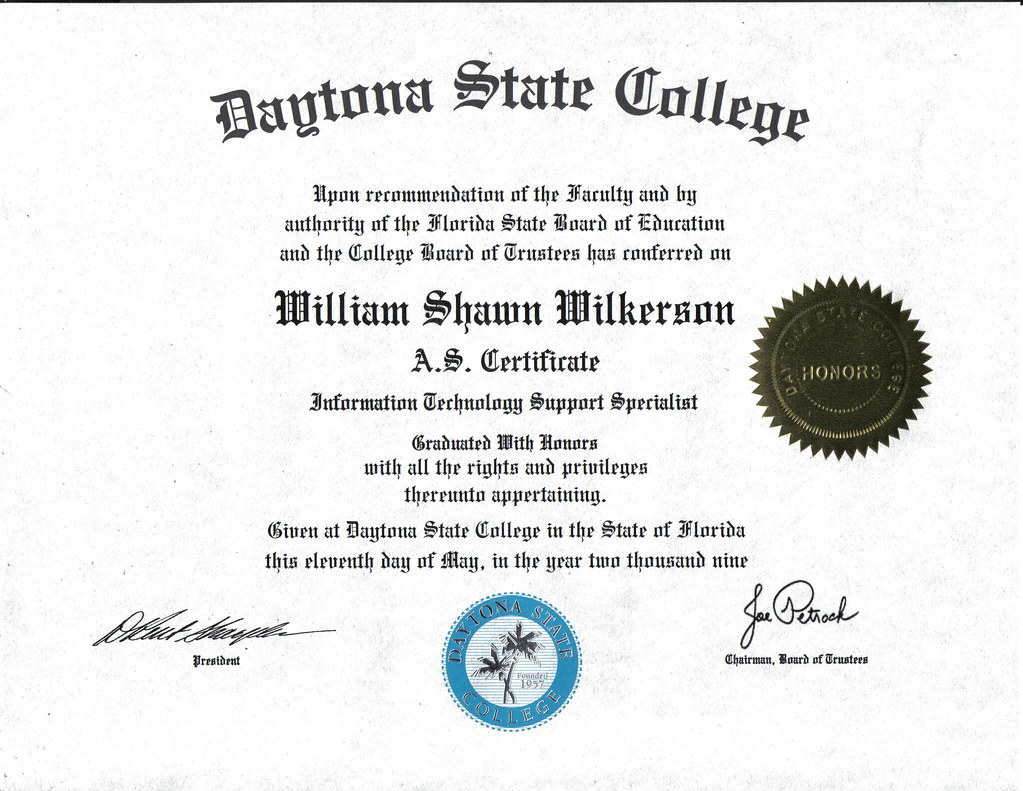 certificate technology management degree specialist support