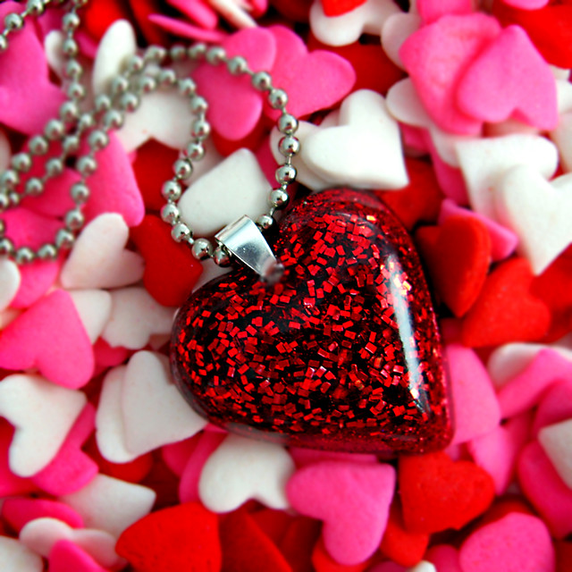 red glitter heart resin necklace... pretty as Dorothy's ru ...