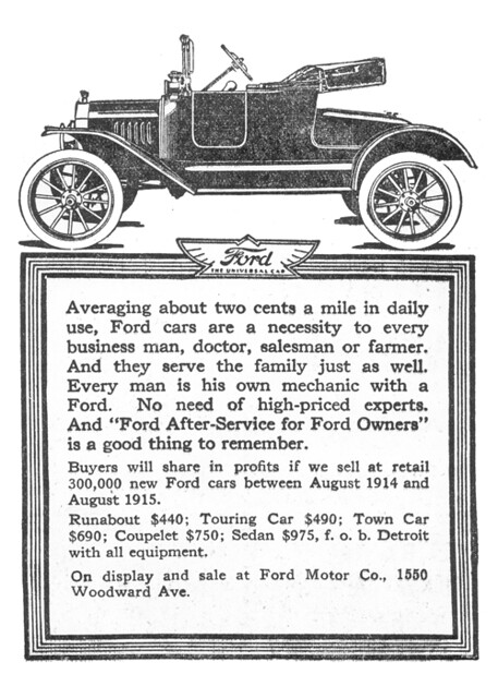 1915 Ford Model T Advertisement From DETROIT JOURNAL April