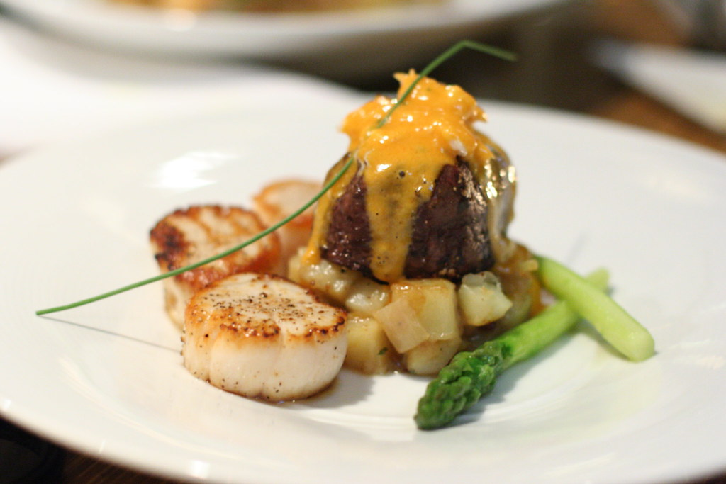Scallops and steak