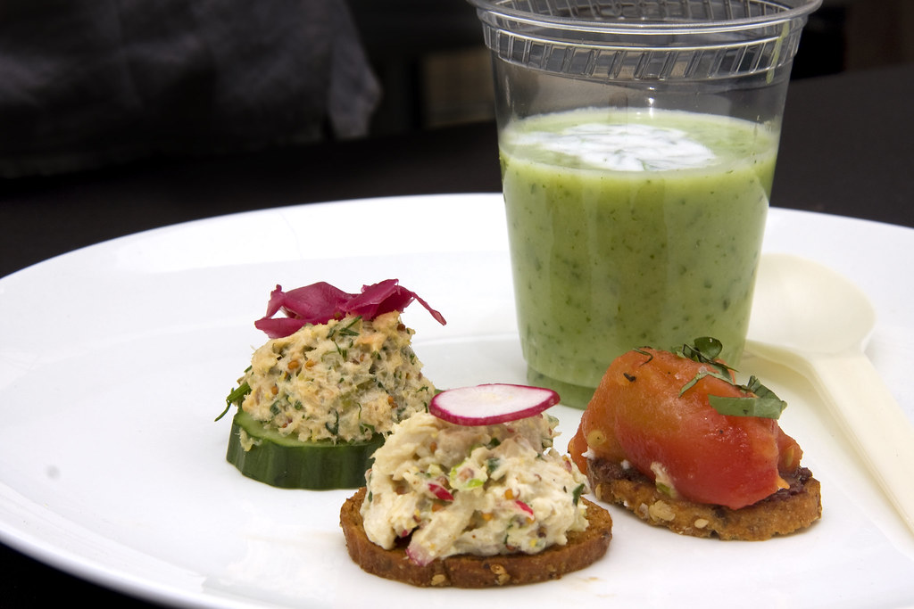 """Chilled cucumber honeydew soup and crostinis (""""no tuna"""" sa… 