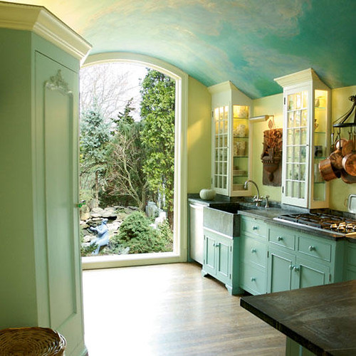 Beautiful sky blue kitchen + painted cabinets + soft green walls ...