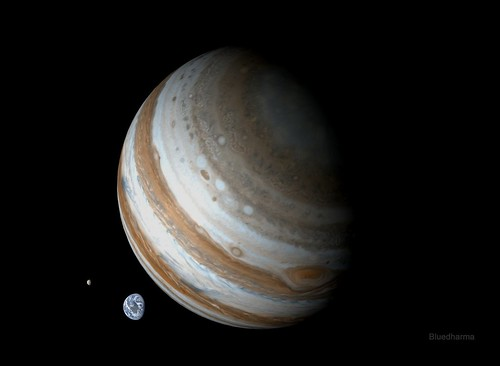 Jupiter, Earth and Moon to scale | Flickr - Photo Sharing!