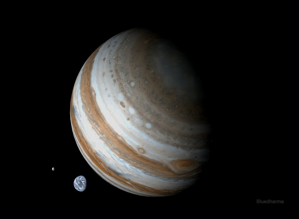 Jupiter, Earth and Moon to scale | Earth,moon and Jupiter ...