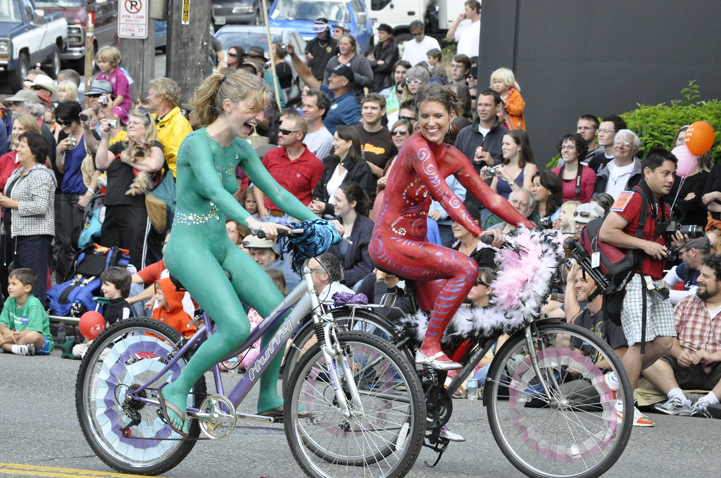 Bicyclists In Body Paint