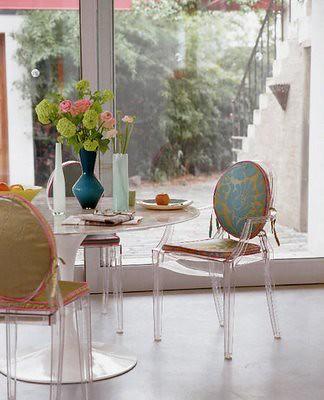 Saarinen Tulip table Louis ghost chairs damask cushion