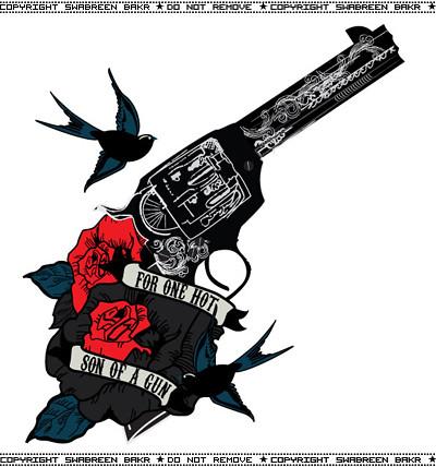 roses n 39 gun tattoo inspired design for a valentine 39 s day flickr. Black Bedroom Furniture Sets. Home Design Ideas