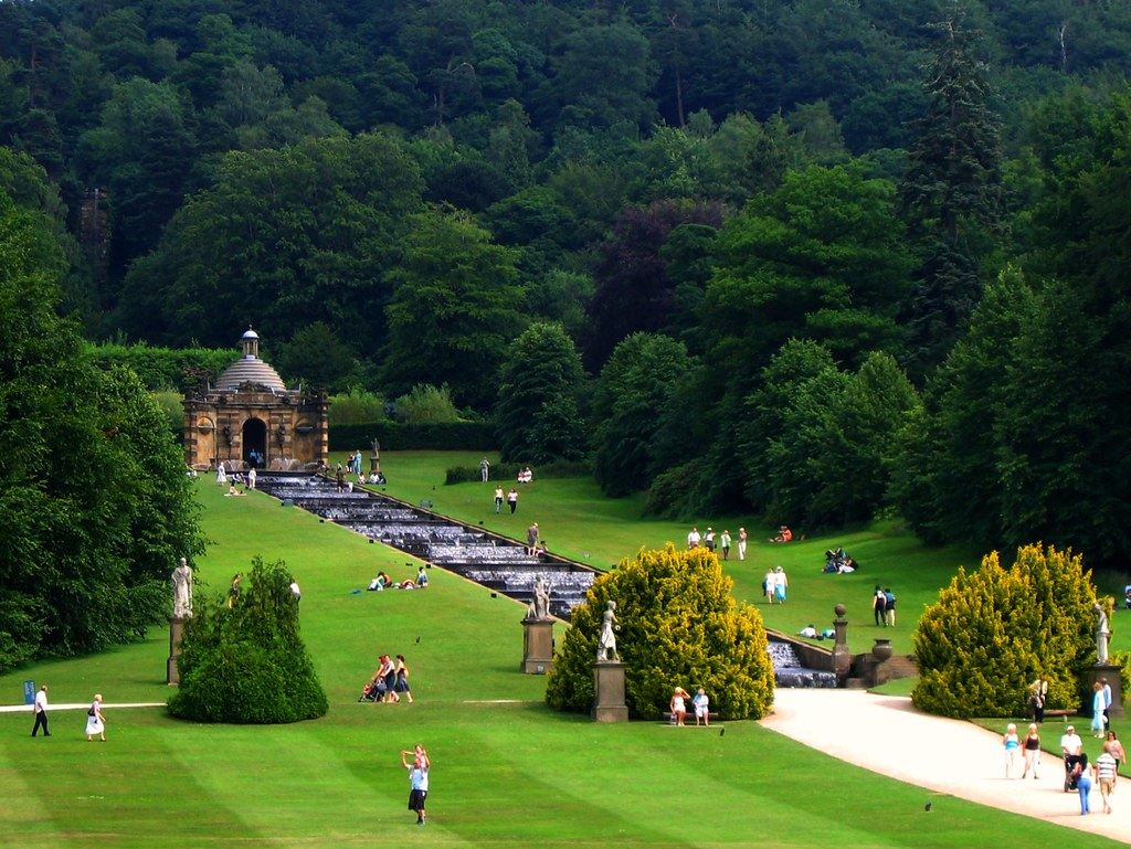 The cascades at chatsworth derbyshire as seen from the f for Cascade house