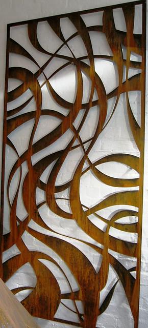 Ribbon Corten Rusting Steel Screen By Pierre Le Roux