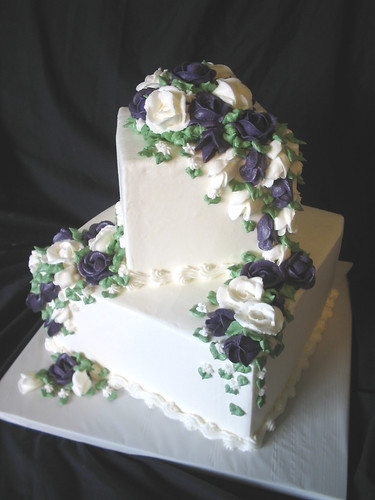 2 Tier Square Wedding Cake With Purple And White Roses
