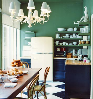 Dark kitchen cabinets green paint checkerboard floor for Retro kitchen paint colors