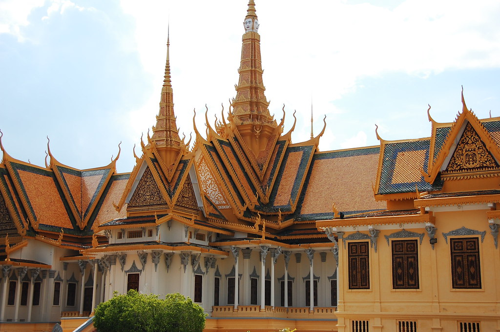 exotic khmer architecture at the royal palace and the