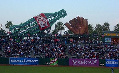 Giant Coke bottle and baseball glove, AT&T Park, San Francisco | by LA Wad