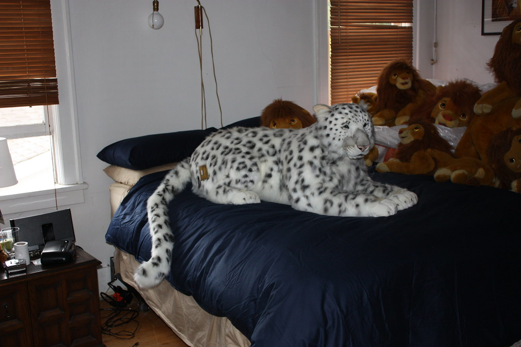 Hansa crouching snow leopard mama found in northern for Life size shark plush