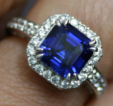 Sapphire Wedding Ring Solid Gold Set