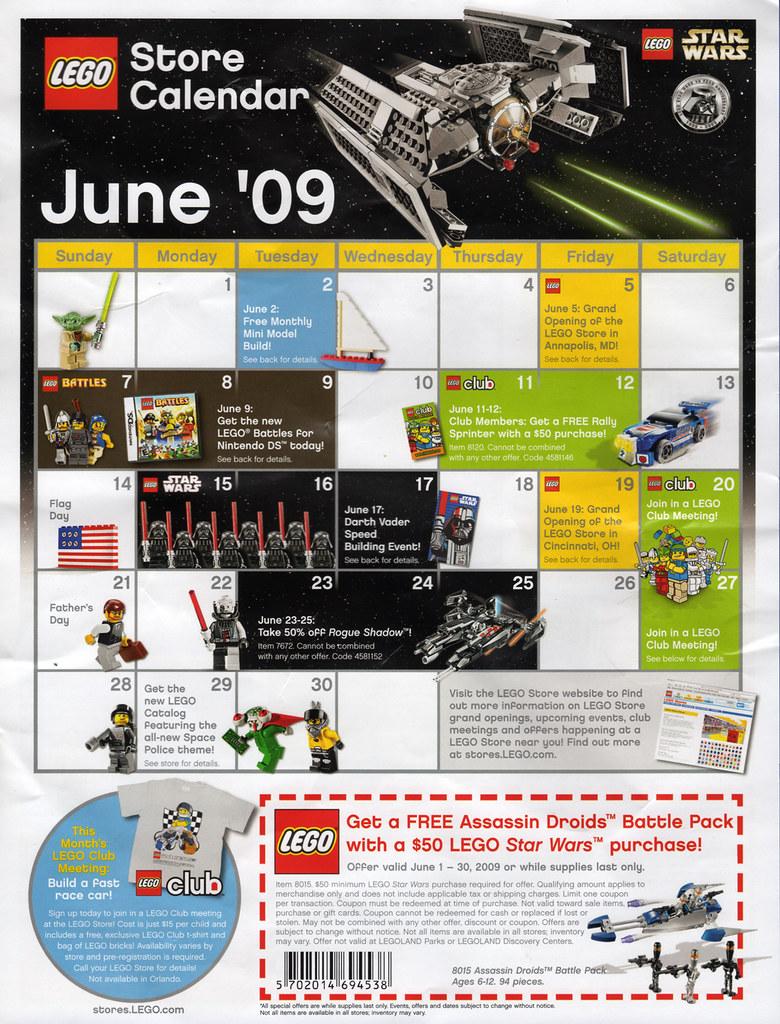 Calendar Lego June : Lego store calendar june  front