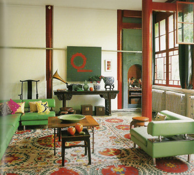 Green And Red Living Room ...