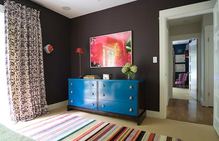 Brown blue bedroom lacquered turquoise dresser farrow for Farrow and ball los angeles