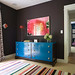Brown + blue bedroom: Lacquered turquoise dresser + Farrow & Ball's 'Mahogany'