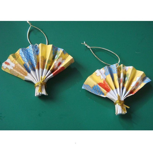 Origami Japanese Fan Chrams X 2 Yellow And Red Oriental Flickr