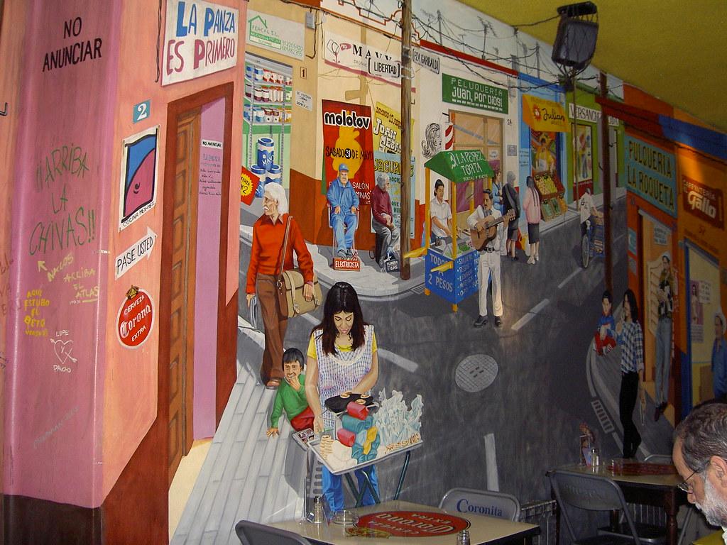 Mural colores mexicanos restaurante mexicano la panza for Mural mexicano