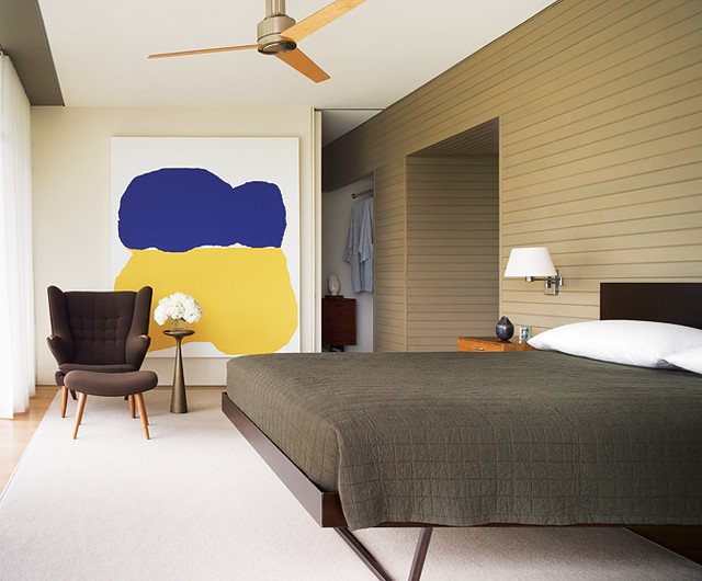 Neutral Bedroom Colorful Modern Art Interior Design By Thad Hayes
