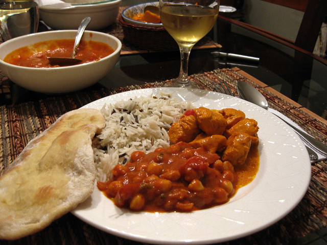 Indian food: Chick Peas, Butter Chicken, Basmati Rice and Naan Bread ...