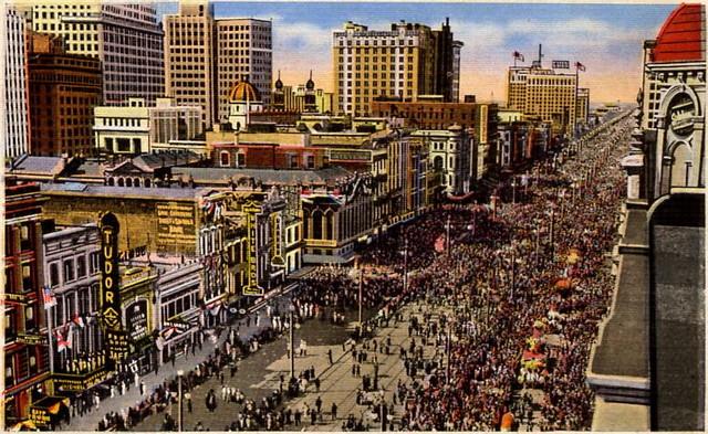 Mardi Gras On Canal Street Postcard With Tudor Theater