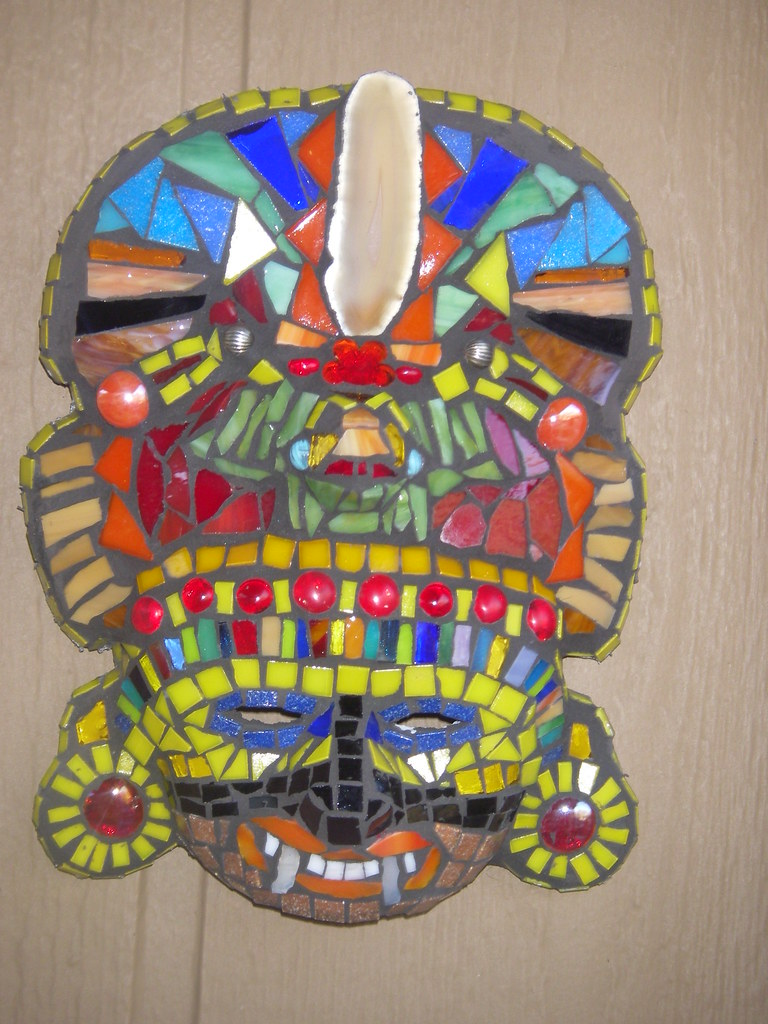 Mosaic Aztec Mask Old Mask With Agate Stained Glass