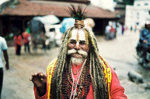 Sadu on Durban Square, Kathmandu | FujiGWII6x9 Fujipro400 ... Sadu