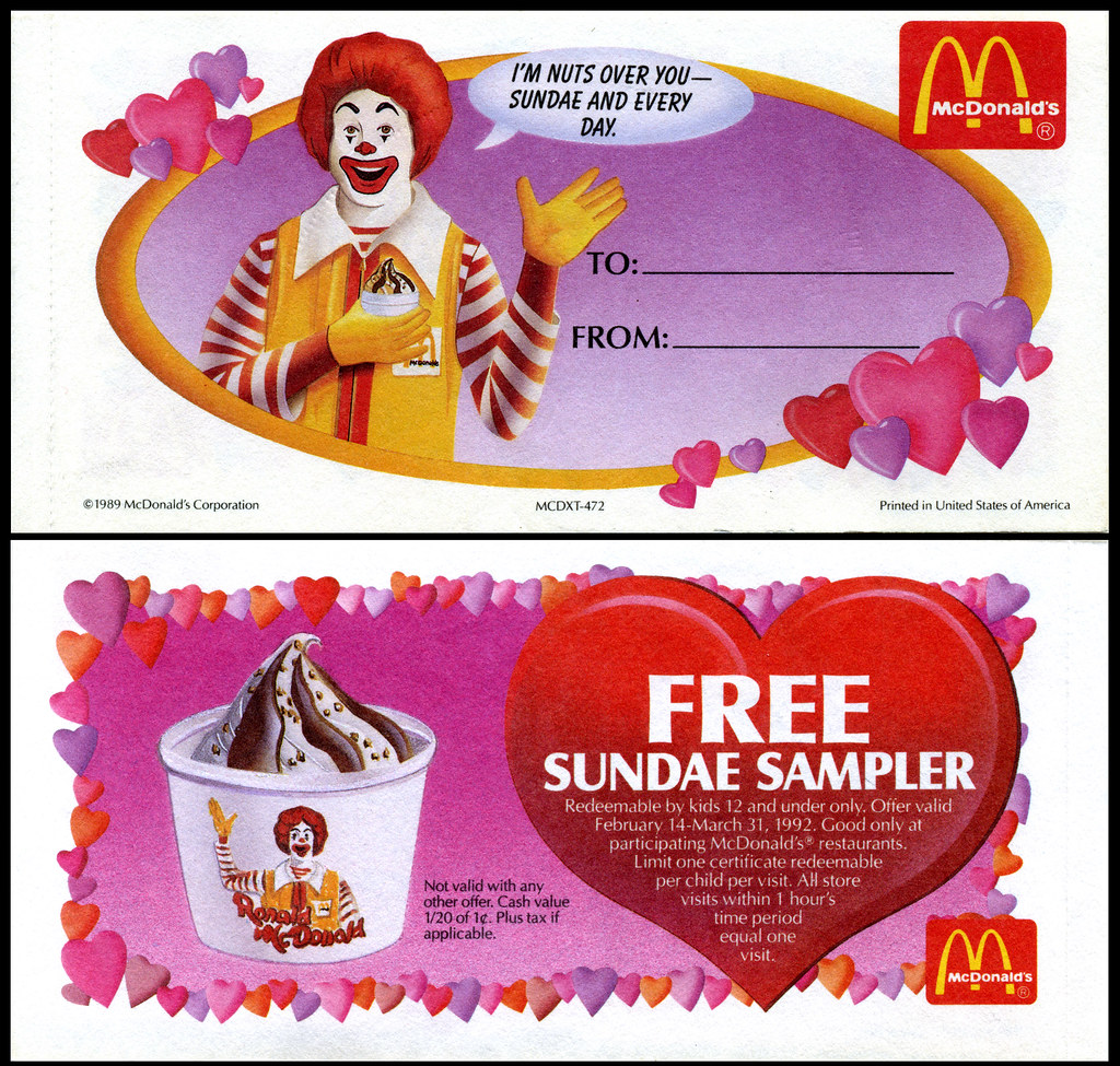 Mcdonalds valentines day gift certificates 1992 ronal flickr mcdonalds valentines day gift certificates 1992 ronald by jasonliebig 1betcityfo Image collections