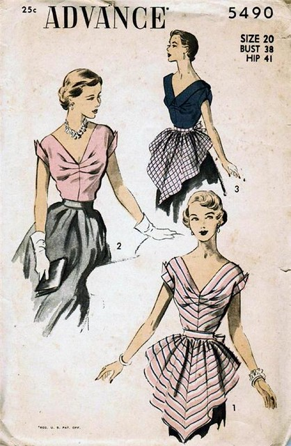 Vintage sewing pattern: 1950s hostess blouse and apron | Flickr
