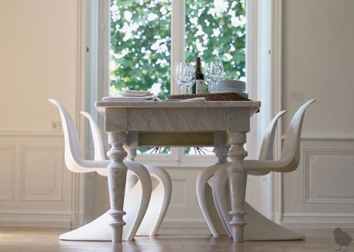 Modern traditional mix white dining room panton chair for Modern farmhouse dining chairs