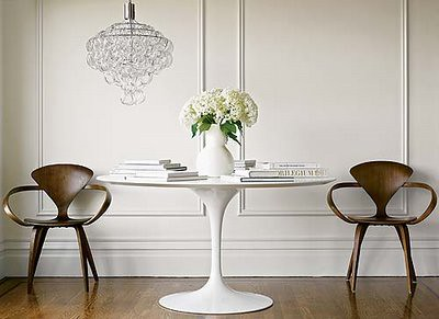 White Wood Saarinen Tulip Table Mid Century Modern No