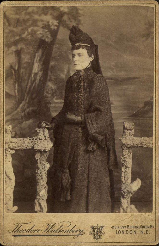 Studio Portrait Of A Widow In Full Mourning With Peaked Ca