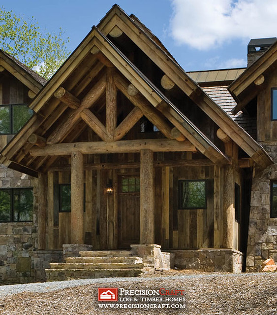 Exterior Entrance Post Amp Beam Log Home Precisioncraft