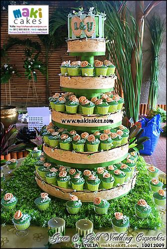 Green Gold Wedding Cake