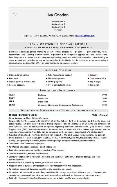 admin office hrm management universal cv resume by mikelley