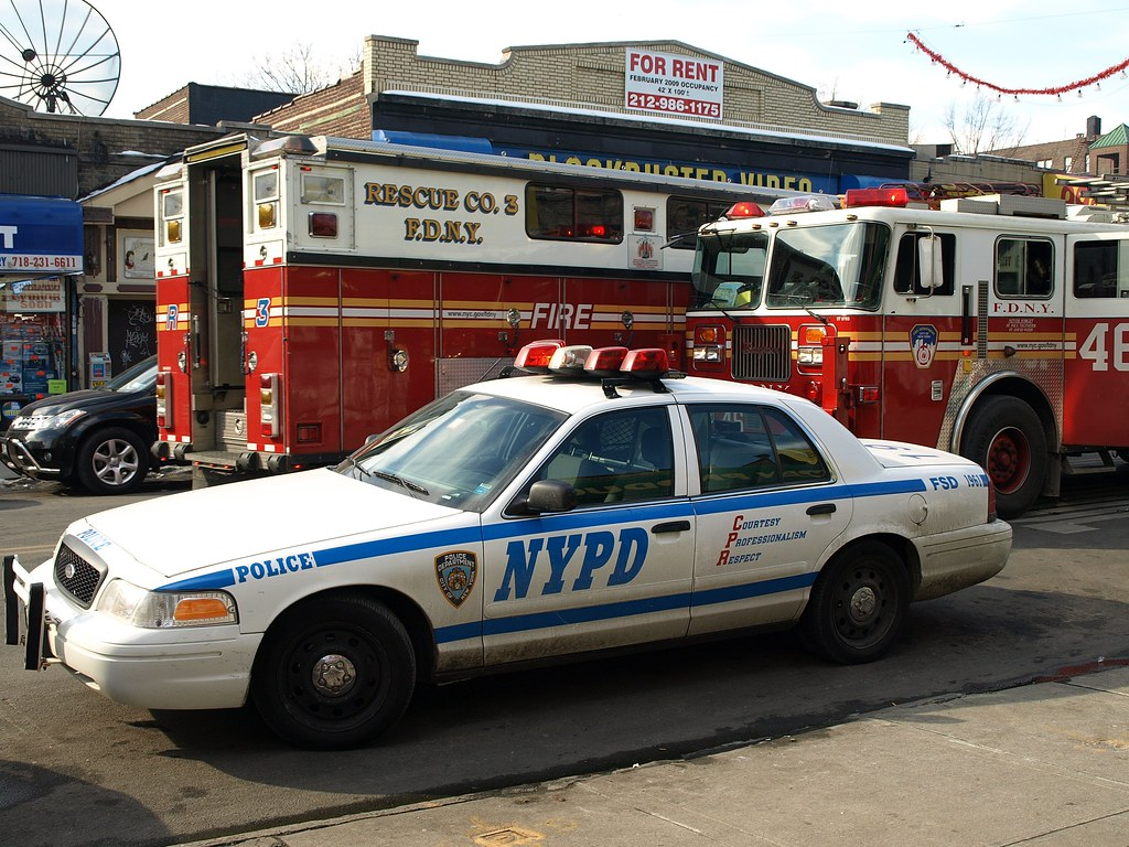 Car Service Bronx: FDNY Rescue 3 Truck, Ladder 46 & NYPD Police Car, Bronx, N