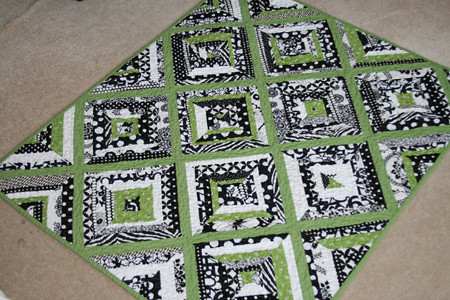 Black White Green String Baby Quilt Front A Baby Black