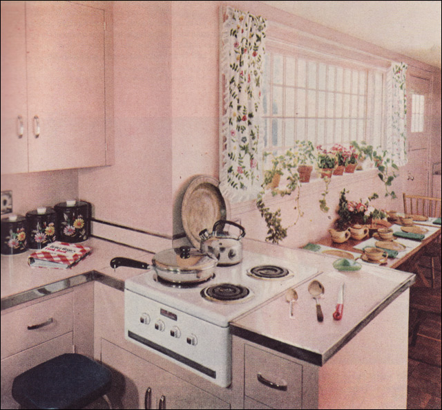 1951 Petal Pink Kitchen By Royal Barry Wills
