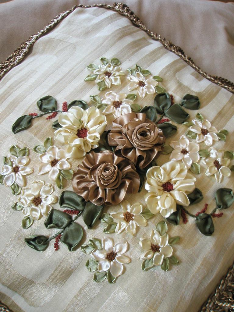 Ribbon embroidery on cushion cover zaliana flickr