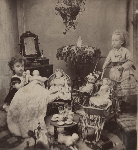Two Little Girls With Dolls And Toys C 1870s This Is