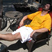 husband relaxing while I work